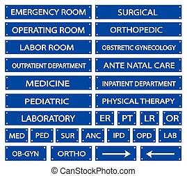 blaues, satz, medizinisches zeichen, abkürzungen, klinikum