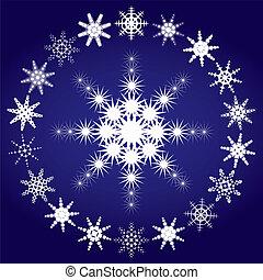 blaues, satz, schneeflocken, abbildung, hintergrund, vektor, 3, teil