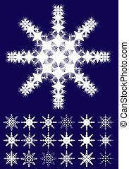 blaues, satz, schneeflocken, abbildung, hintergrund, vektor, teil, 1