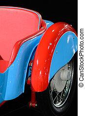 blaues, schöne , altes , senkrecht, zurück, teil, auto., retro, hintergrund, closeup, rotes