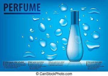 blaues, schöne , container., kosmetisch, abbildung, parfüm, wasser, vektor, produkte, hintergrund, ad., tropfen, durchsichtig, 3d