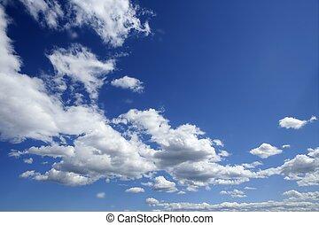 blaues, schöne , himmelsgewölbe, mit, weiße wolken, in, sonniger tag