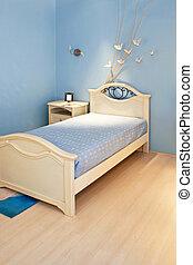 blaues, schalfzimmer