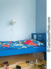 blaues, schalfzimmer, für, junge