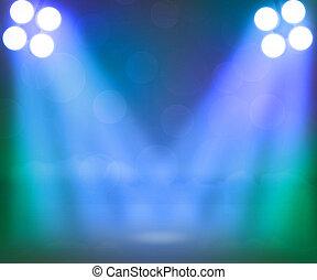 blaues, scheinwerfer, hintergrund, buehne