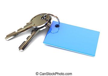 blaues, schlüssel, keyring, leer