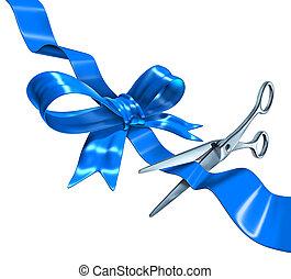blaues, schneiden, geschenkband