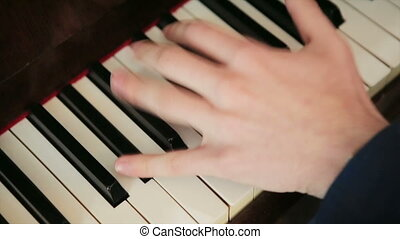 blaues, schnell, klage, spiele, klavier, pianist