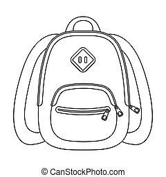 blaues, schule, bag., a, schulen sack, für, a, buch, und, notebooks.school, und, bildung, ledig, ikone, in, grobdarstellung, stil, vektor, symbol, bestand, illustration.