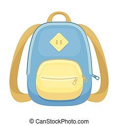 blaues, schule, bag., a, schulen sack, für, a, buch, und, notebooks.school, und, bildung, ledig, ikone, in, karikatur, stil, vektor, symbol, bestand, illustration.