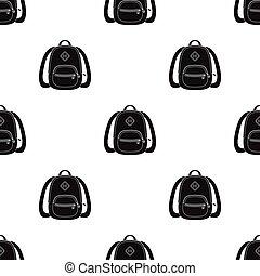 blaues, schule, bag., a, schulen sack, für, a, buch, und, notebooks.school, und, bildung, ledig, ikone, in, schwarz, stil, vektor, symbol, bestand, illustration.