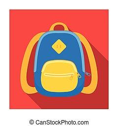 blaues, schule, bag., a, schulen sack, für, a, buch, und, notebooks.school, und, bildung, ledig, ikone, in, wohnung, stil, vektor, symbol, bestand, illustration.
