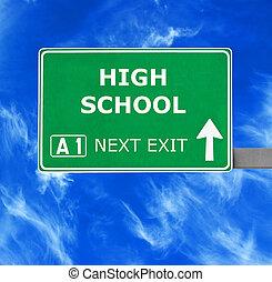 blaues, schule, freier himmel, gegen, zeichen, hoch, straße