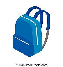 blaues, schulen sack, ikone, isometrisch, 3d, stil