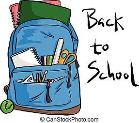 blaues, schulen sack, mit, posten, für, studenten, vektor, abbildung, skizze, gekritzel, hand, gezeichnet, mit, schwarz, linien, freigestellt, weiß, hintergrund., zurück schule, concept.