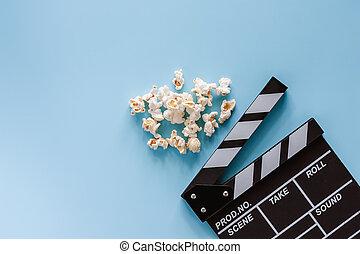 blaues, schwengel, film, brett, hintergrund, popcorn