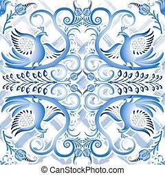 blaues, seamless, licht, muster, in, ethnisch, stil, gzhel, a, aquarell, substrate., stilisiert, gemälde, auf, porcelain.