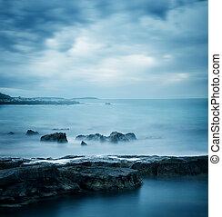 blaues, seascape., winter, sea., friedlich, kalte