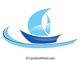 blaues, segelboot