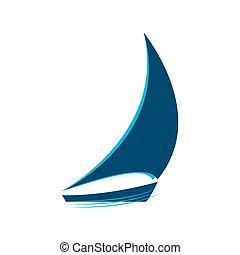 blaues, segelboot, vektor, logo, wellen