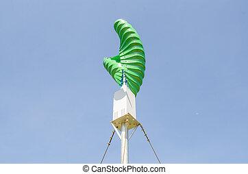 blaues, senkrecht, himmelsgewölbe, spirale, gegen, form, hintergrund, turbine, wind
