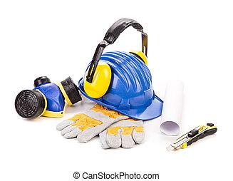 blaues, sicherheitshelm, mit, kopfhörer
