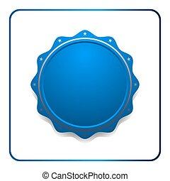 blaues, siegel, auszeichnung, ikone