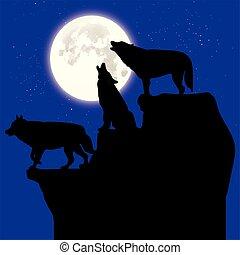 blaues, silhouette, mond, oberseite, drei, heulen, sternen, schwarzer hintergrund, felsformation, wölfe, karikatur