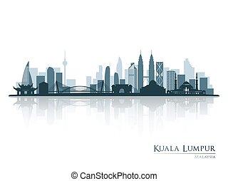 blaues, silhouette, reflexion., lumpur, skyline, kuala