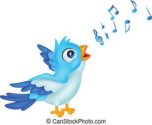 blaues, singen, karikatur, vogel
