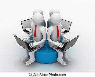 blaues, sitzen, laptop, mann, scheibe, 3d