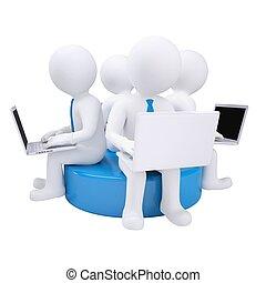 blaues, sitzen, laptop, vier, mann, scheibe, 3d