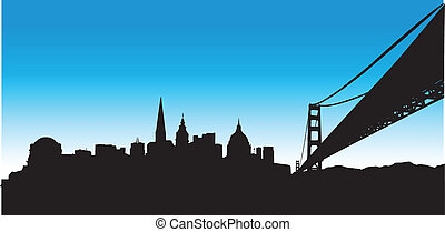 blaues, skyline, francisco, san