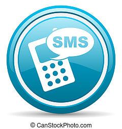 blaues, sms, glänzend, hintergrund, weißes, ikone