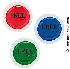 blaues, software., satz, button., frei, grün rot