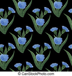 blaues, sommer, gemalt, muster, seamless, hand, aquarell, blumen