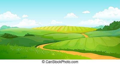 blaues, sommer, hügel, lockig, landschaft., landschaft, felder, natur, himmelsgewölbe, clouds., vektor, grün, ländlich, tal, karikatur, ansicht