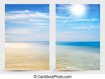 blaues, sommer, satz, himmelsgewölbe, sonnenschein, zwei, kuesten, strand., wasserlandschaft, hintergrund, banner