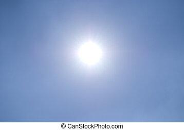 blaues, sonne, freier himmel, blank