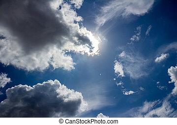 blaues, sonne, hell, sky.