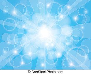 blaues, sonne- strahlen, himmelsgewölbe, hintergrund