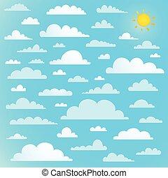 blaues, sonne, wolkenhimmel, sammlung, himmelsgewölbe