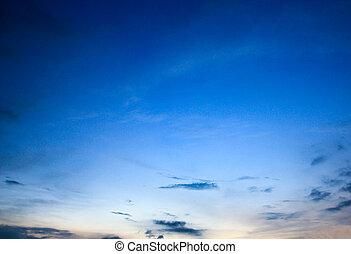 blaues, Sonnenuntergang, himmelsgewölbe, hintergrund