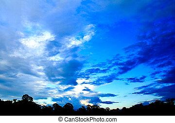 blaues, Sonnenuntergang, himmelsgewölbe