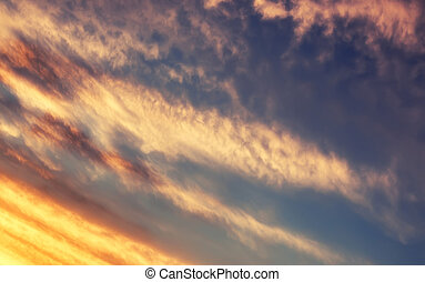 blaues, Sonnenuntergang, himmelsgewölbe, weich, Wolke