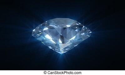 blaues, spinnen, diamant, blank