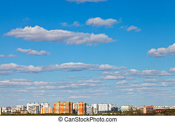 blaues, städtisch, wolkenhimmel, Bezirk, aus, himmelsgewölbe, weißes