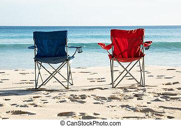 blaues, stühle, sandstrand, sandig, rotes