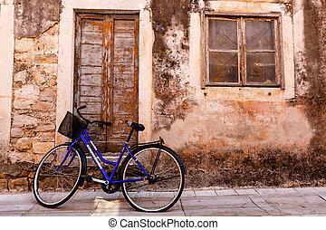 blaues, stadt, fahrrad, skradin, kroatien, haus, tür
