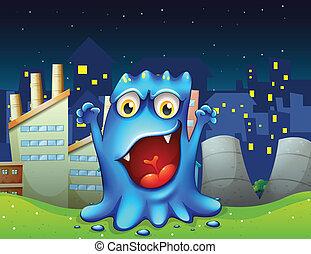 blaues, stadt, monster, glücklich